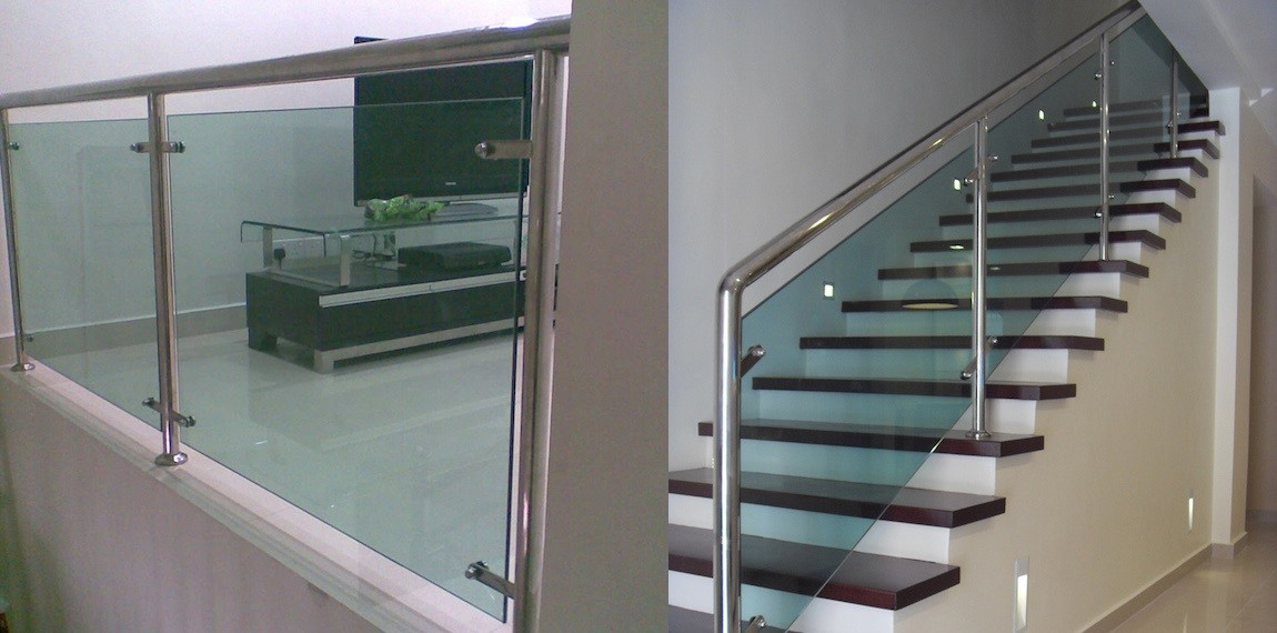 Glass Staircase, glass rail, glass railing, staircase glass malaysia, staircase design