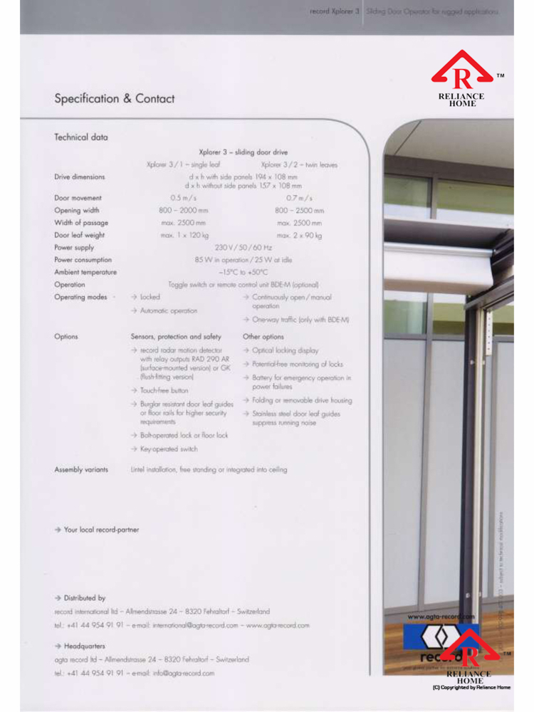 Reliance Home automatic framed sliding door-6