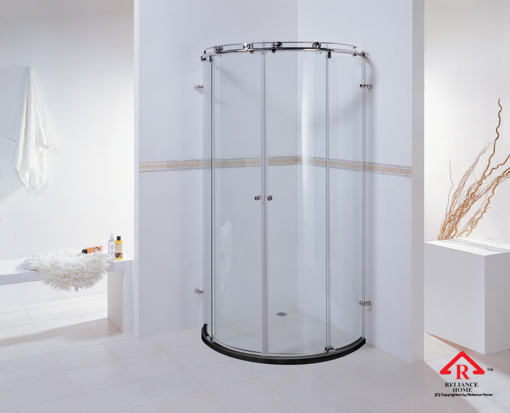 Reliance Home KK-T41 frameless shower screen sliding curve shape