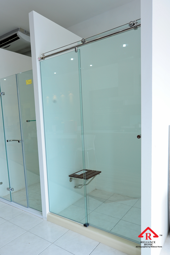 Reliance Home KK-T71 frameless shower screen sliding straight wall to wall-2
