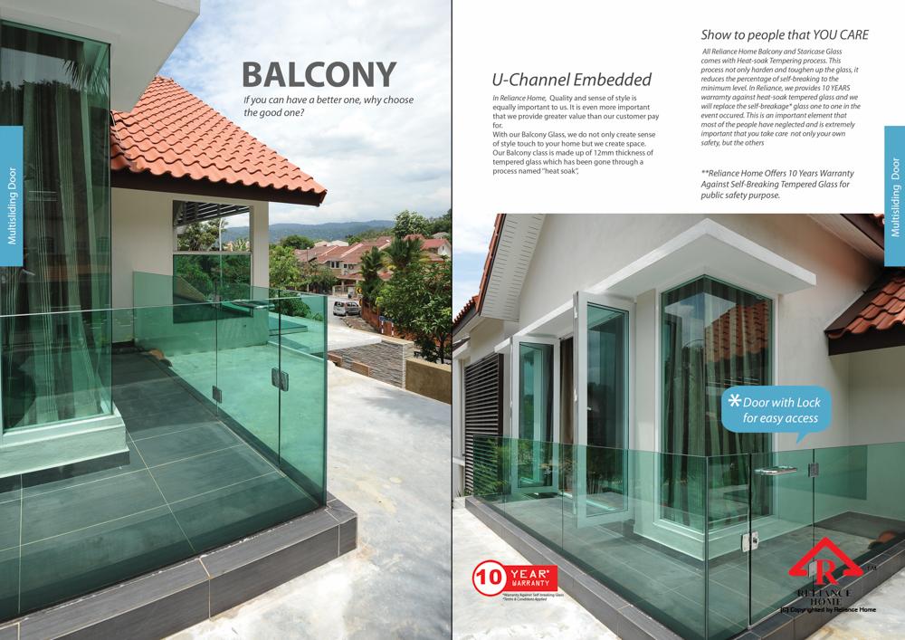 Reliance Home balcony glass U-channel type-58