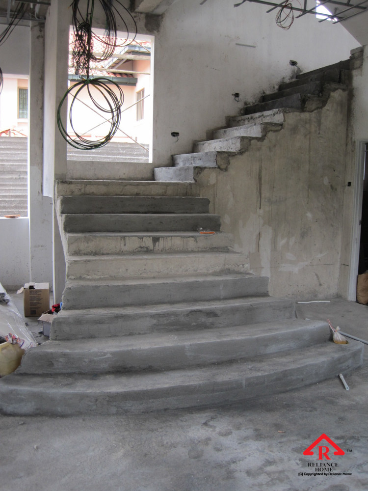 Reliance Home staircase glass under construction photos